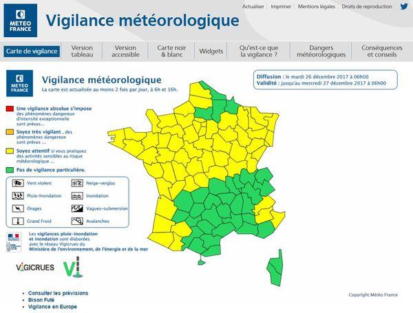 Bulletin Météo France du 26/12/2017 6h