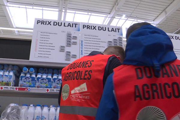 13 février 2021 : action des Jeunes Agriculteurs 76 dans le magasin Auchan de Montivilliers (Seine-Maritime)
