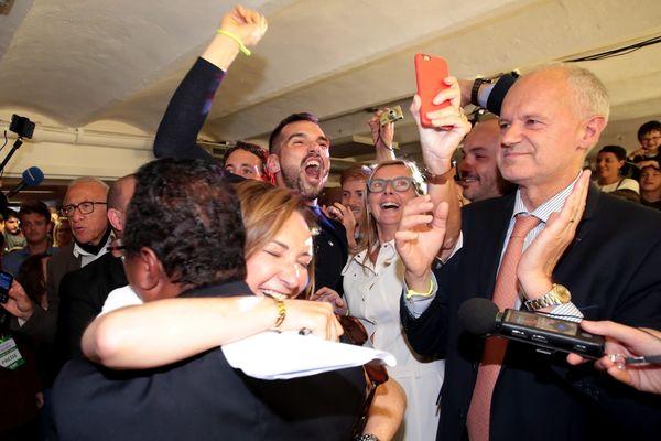 Victoire au qg d'E. Macron à Marseille.