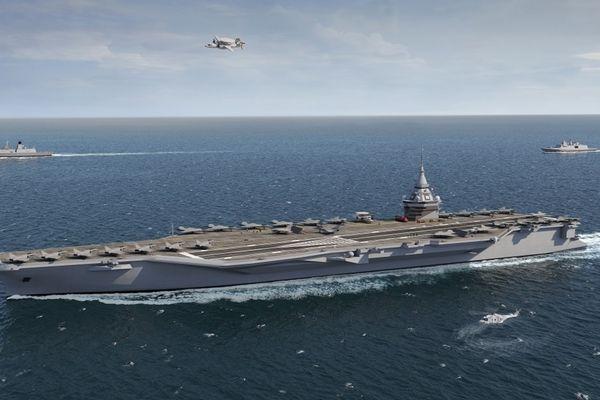 Esquisse du nouveau porte-avions à propulsion nucléaire PANG
