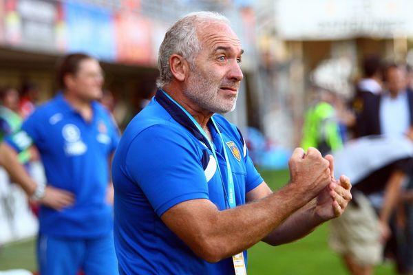 Alain Hyardet, directeur sportif de Perpignan lors de la victoire de l'USAP face à Béziers 28-25 - 19 octobre 2014