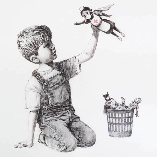 L'oeuvre de Banksy glorifiant le dévouement des soignants