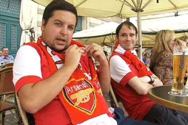 Montpellier : les supporteurs d'Arsenal sur la Place de la Comédie - 18 septembre 2012.
