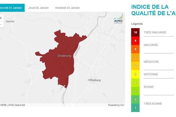 Le niveau de pollution aux particules détecté à Strasbourg par ATMO Grand Est