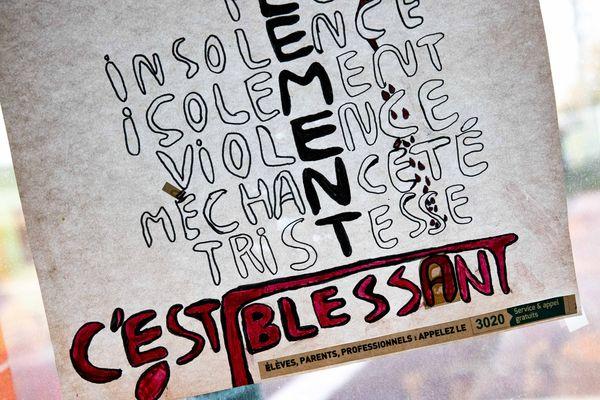 Un dessin présenté dans le cadre d'une visite ministérielle dans un collège parisien contre le harcèlement scolaire, en novembre 2018 (illustration).