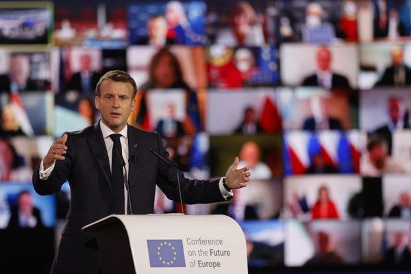 Emmanuel Macron au Parlement européen à Strasbourg, le 9 mai 2021