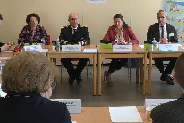 Conférence de presse d'Agnès Buzyn, ministre de la Santé à l'Agence régional de santé (ARS) du Centre-Val de Loire à Orléans.