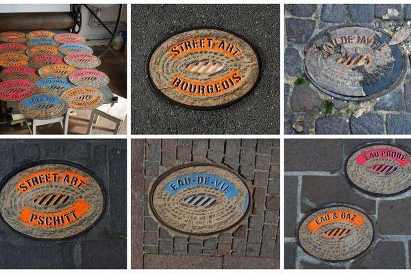 Les oeuvres de Daniel Tiziani sur les trottoirs de Mulhouse.