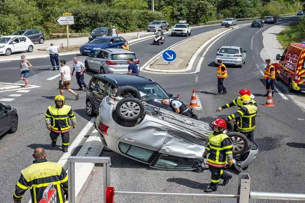 Accident de la route à Maureillas-Las-Illas, dans les Pyrénées-Orientales - 2021.