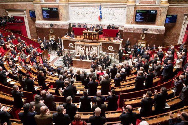 L'hémicycle de l'Assemblée nationale, le 10 février 2016, lors de la séance des questions au gouvernement.