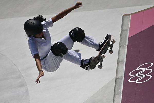 Madeleine Larcheron ne se qualifie pas en finale de skateboard aux Jeux Olympiques de Tokyo le 3/08/21.