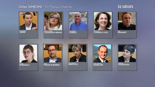 """Une partie des élus de la liste """"Fa populu inseme"""" menée par Gilles Simeoni."""