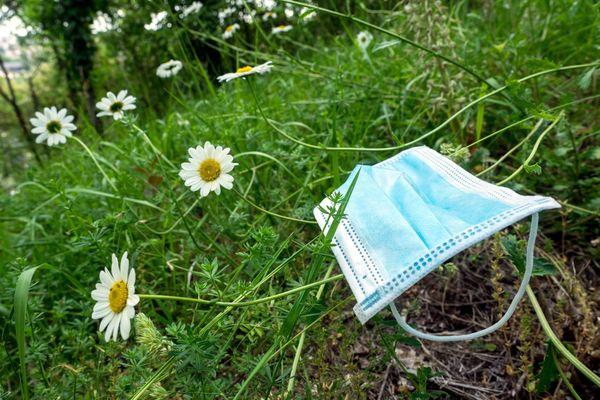 Un masque jeté dans la nature. (Photo d'illustration)