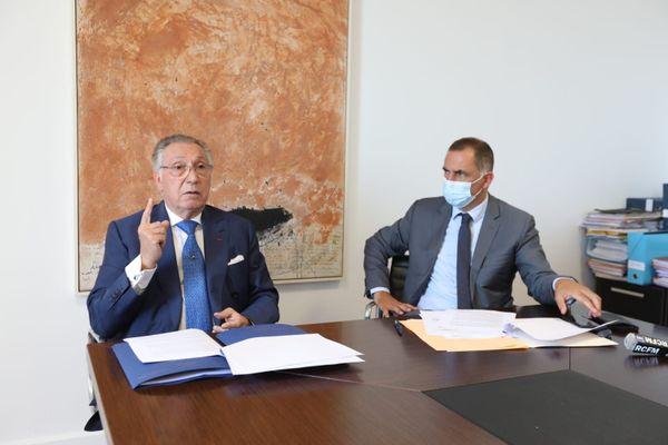 Maître Alain Spadoni et Gilles Simeoni, jeudi à la Collectivité de Corse.