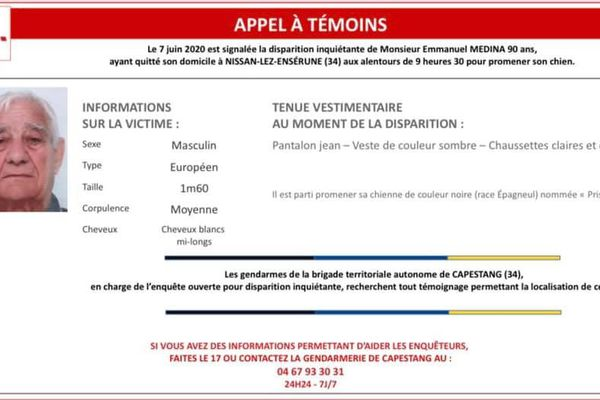 L'homme a disparu dimanche matin 7 mai vers 9h30 en allant promener à Nissan-lèz-Ensérune dans l'Hérault.