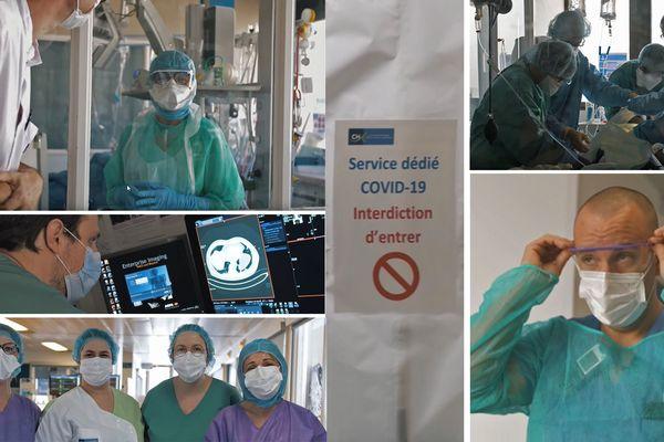 """Images extraites du film """"COVID-19 : Comment un hôpital fait-il face ?"""" tourné ^par Tanguy Leroux vidéaste et interne en biologie médicale au  Centre Hospitalier Intercommunal - Elbeuf Louviers Val de Reuil"""