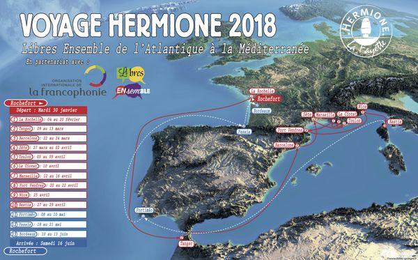 La carte du voyage 2018 de l'Hermione