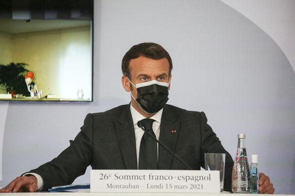 Emmanuel Macron à Montauban (Tarn-et-Garonne), lors du 26e sommet franco-espagnol.