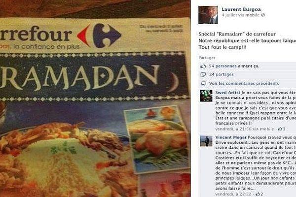 Capture d'écran du compte Facebook de Laurent Burgoa