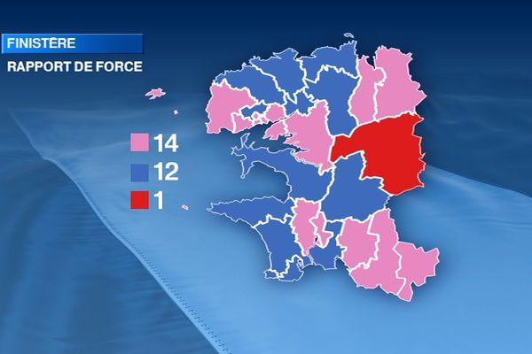 Couleur politique du Finistère à l'issue des élections départementales 2015. Rose : gauche - Bleu : droite - Rouge : régionalistes