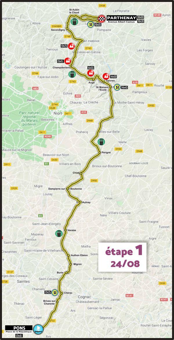 Etape 1 - Pons > Parthenay - Tour du Poitou-Charentes en Nouvelle-Aquitaine