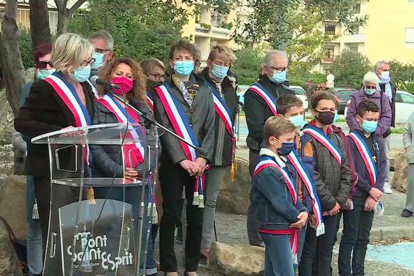 Pont-Saint-Esprit (Gard) - hommage à Samuel Paty au collège Georges Ville - 21 octobre 2020.