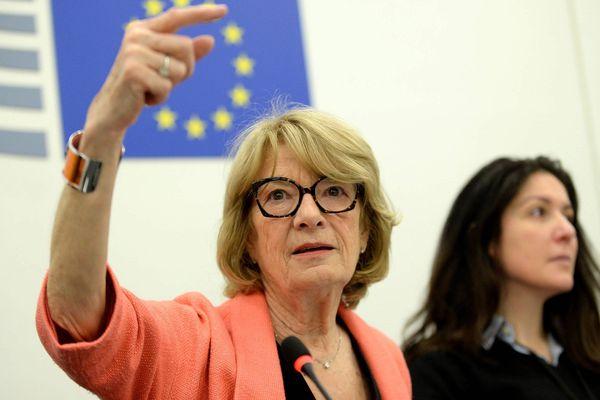 Elisabeth Morin-Chartier, députée européenne Agir de l'Ouest, lors d'un séminaire Europe avec des lecteurs du journal Ouest-France au Parlement européen à Strasbourg du 15 au 17 avril 2019.