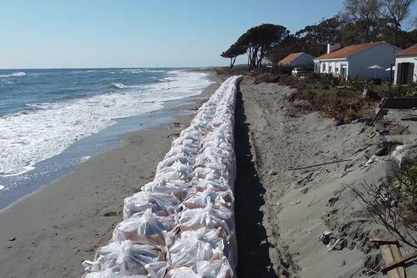 Une digue contre l'érosion du littoral a été installée cette semaine à Lucciana.