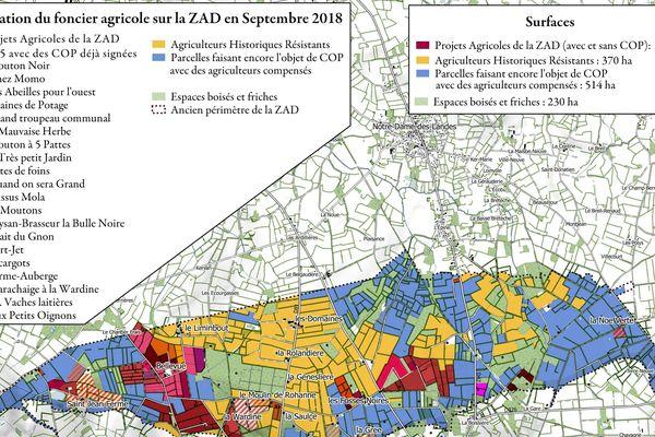 Les occupants ont dressé la carte du foncier agricole sur la ZAD de Notre-Dame-des-Landes.