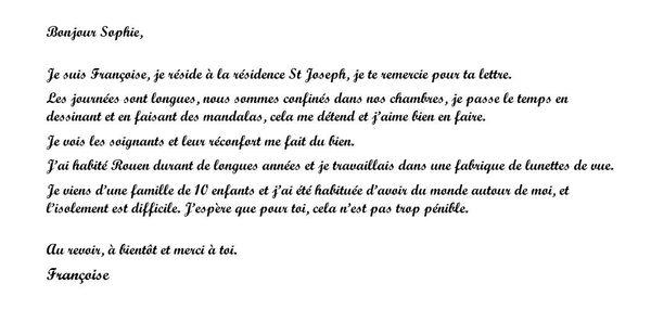 lettre de Françoise à Sophie