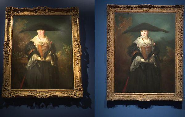 A gauche, La Belle Strasbourgeoise vendue aux enchère, à droite l'oeuvre conservée au Musée des Beaux-Arts à Strasbourg.