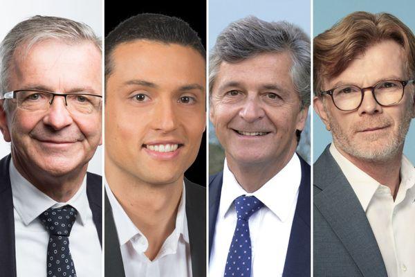 François Bonneau, président sortant et candidat PS ; Aleksandar Nikolic, candidat RN ; Nicolas Forissier, candidat Les Républicains ; Marc Fesneau, ministre et candidat MoDem.