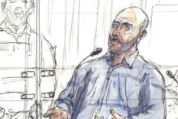 Redoine Faid croqué en mars 2016, lors d'un procès à Paris.