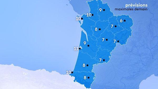 Il fera 11 degrés à Bayonne et La Rochelle, 10 à Bordeaux et Niort, 9 degrés à Poitiers, 8 à Angoulême et 7 degrés à Brive.