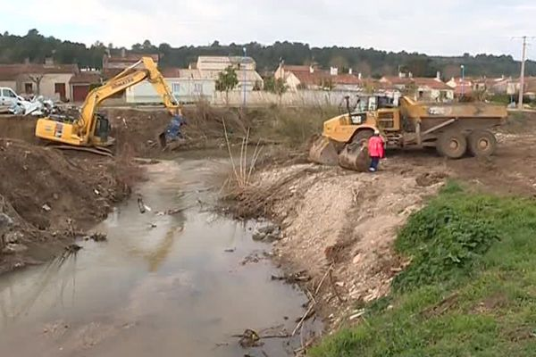 Le 7 février 2019, pendant les travaux de Villegailhenc, après les inondations du 14-15 octobre 2018.