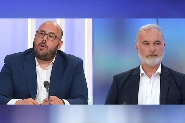 Philippe Vardon, candidat soutenu par le Rassemblement National et Jean-Marc Governatori, tête de liste Nice Ecologique lors du débat.