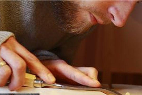 Julien Lebrun dans son atelier