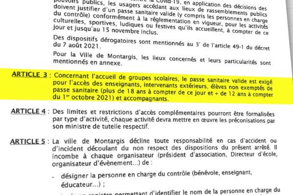L'arrêté pass sanitaire signé par le maire de Montargis