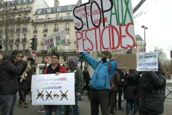 Une manifestation, à Denfert-Rochereau, dans le cadre de la semaine des alternatives aux pesticides, le 26 mars 2016.