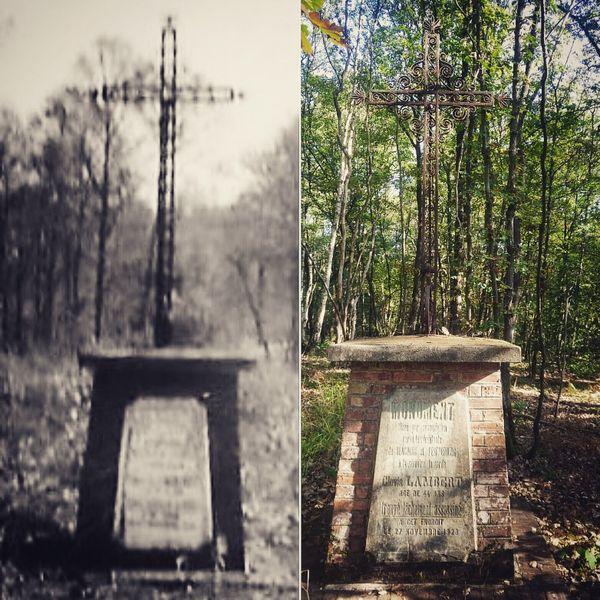 Stèle en hommage à Clovis Lambert dans le bois de Blacourt dans l'Oise