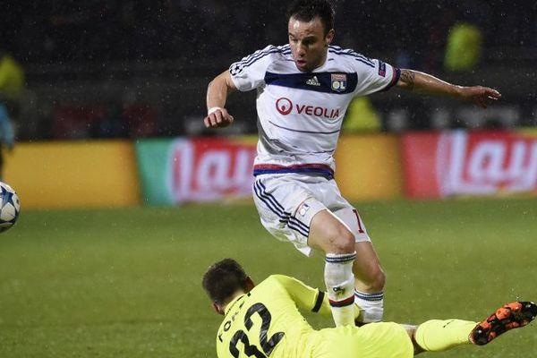 Mathieu Valbuena lors du match OL/La Gantoise ce mardi soir à Gerland.