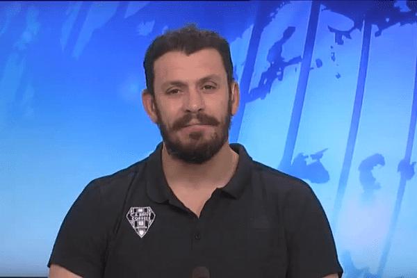 Nicolas Godignon, invité du journal de France 3 Limousin en février 2016, alors qu'il entraînait le CA Brive.