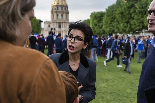 Rachida Dati lors d'un rassemblement en soutien à la liste LR de François-Xavier Bellamy lors des Européennes, fin mai 2019.