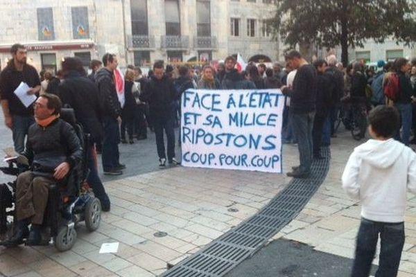 Place Pasteur, à Besançon, le mercredi 29 octobre 2014.