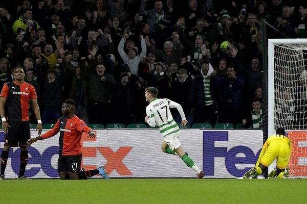But de Glasgow contre Rennes