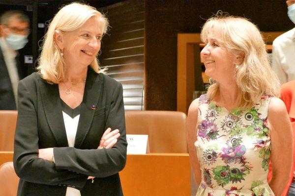 Pia Imbs (à gauche) avec Danielle Dambach, maire de Schiltigheim et présidente déléguée de l'Eurométropole.