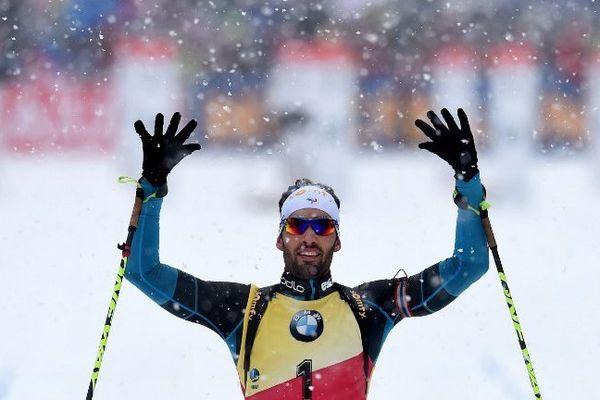 Martin Fourcade après sa victoire du 12,5 km le 15 janvier 2017 à Ruhpolding.