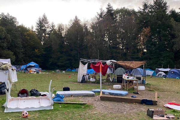 Le camp des Gayeulles après le passage de la tempête Aurore.