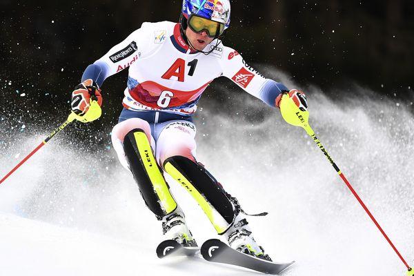 Le Français Alexis Pinturault lors du slalom de Kitzbuehel (Autriche) ce dimanche.