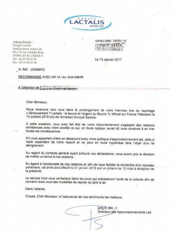 """Lettre du géant laitier à un producteur accusé de """"dénigrement"""""""